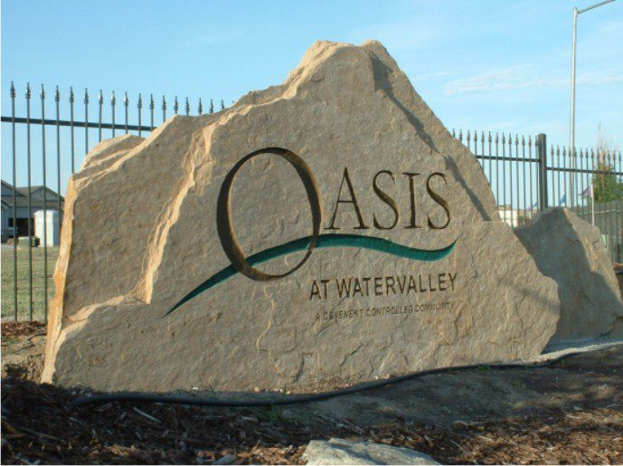 Oasis at Water valley, custom sign, stone sign, monument sign, Windsor Colorado