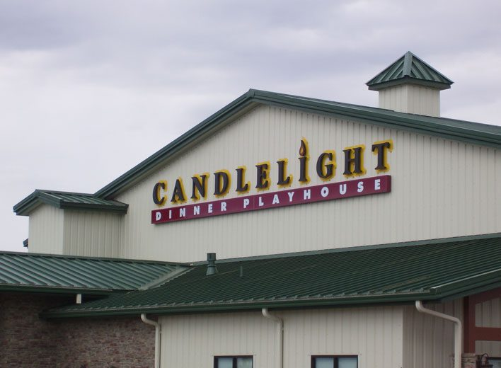 Custom Sign, Candlelight dinner playhouse, dinner and a show