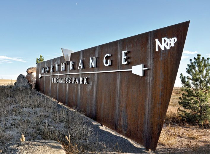 Custom Signs, Monument Sign, Steel Sign, Wyoming, North range business park, business park
