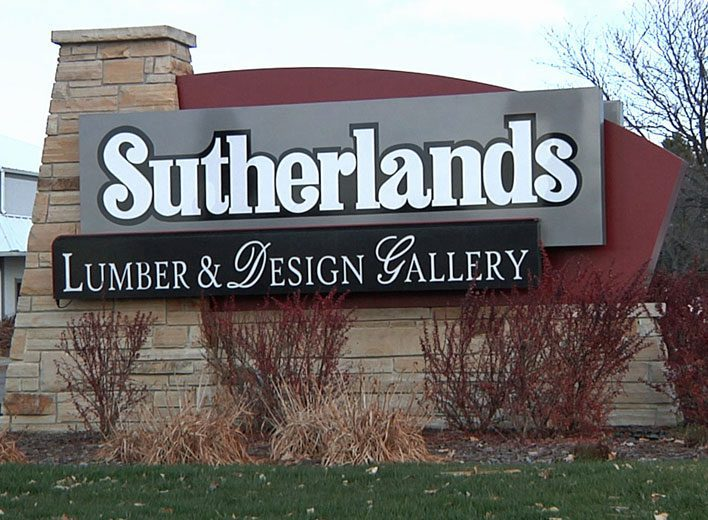 Fort Collins Lumber and Design, Sutherlands, Monument sign,